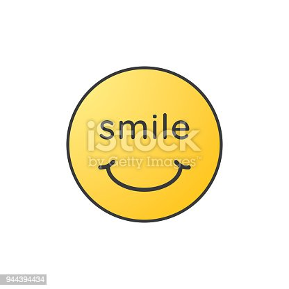 istock Smile face. Yellow smiley icon. Vector illustration. 944394434
