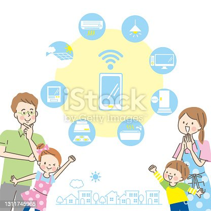 istock Smile family and home appliances icon 1311745965