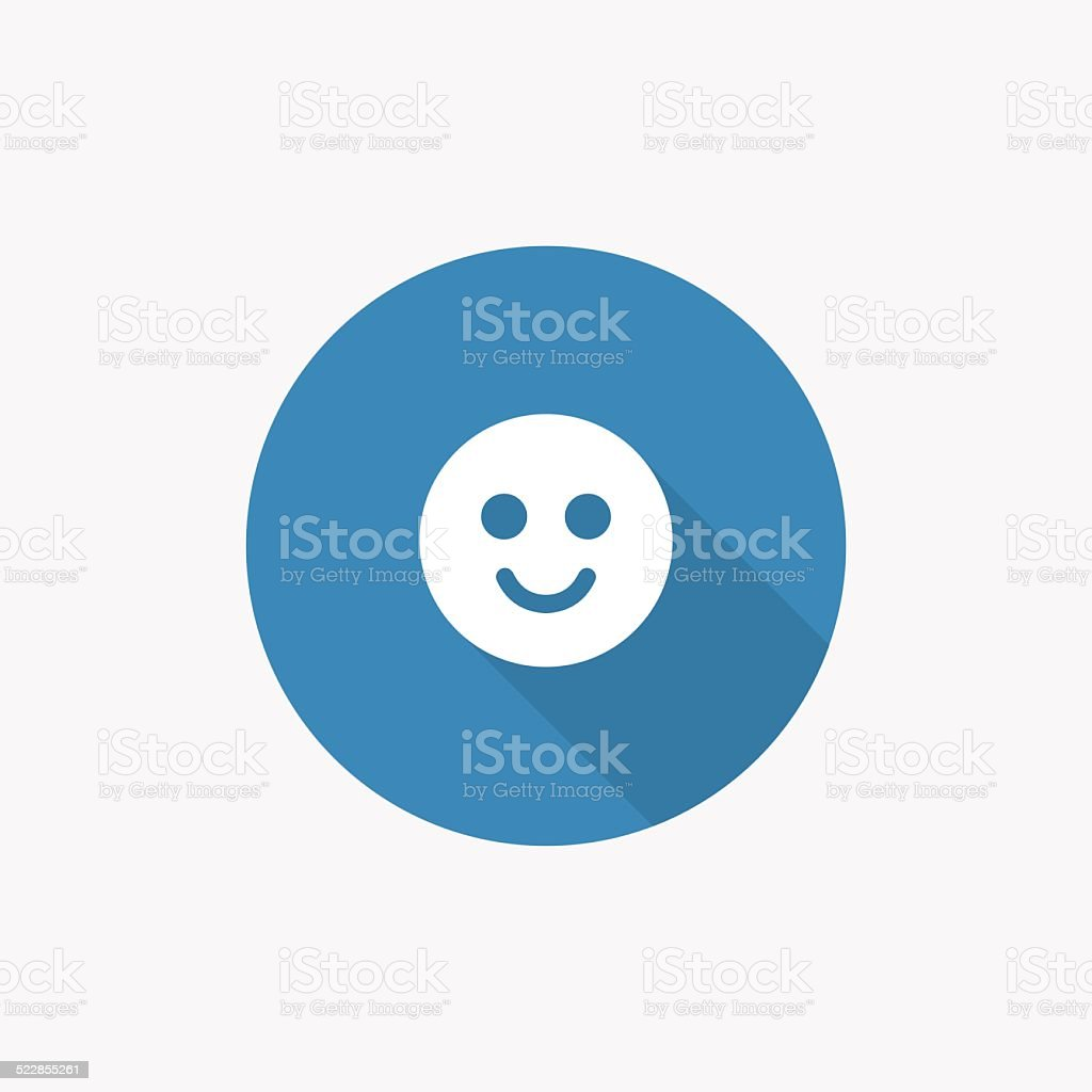 smile Flat Blue Simple Icon with long shadow vector art illustration