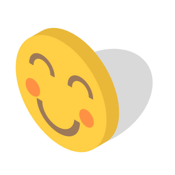 lächeln sie, lustige symbol vektor icon illustration isometrische-design - smileys zum kopieren stock-grafiken, -clipart, -cartoons und -symbole