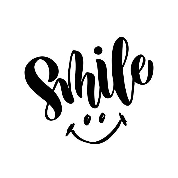 illustrazioni stock, clip art, cartoni animati e icone di tendenza di smile - hand drawn lettering - sorriso