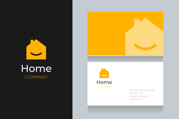 smile house logo with business card template. - house stock illustrations
