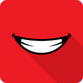 Vector illustration of a red smile icon in flat style.