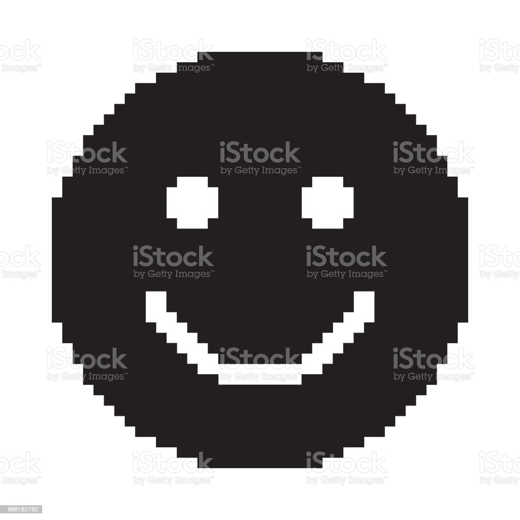 Smile icon. Happy face symbol. Pixel art. - Royalty-free Alegria arte vetorial