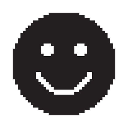 Het Pictogram Van De Glimlach Blij Gezicht Symbool Pixelart Stockvectorkunst en meer beelden van Antropomorfisch gezicht