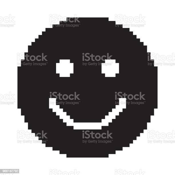 Leendeikonen Glada Ansikte Symbol Pixelart-vektorgrafik och fler bilder på Ansiktsuttryck