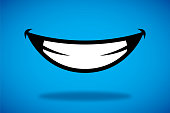 Vector illustration of a smile icon against a blue background.