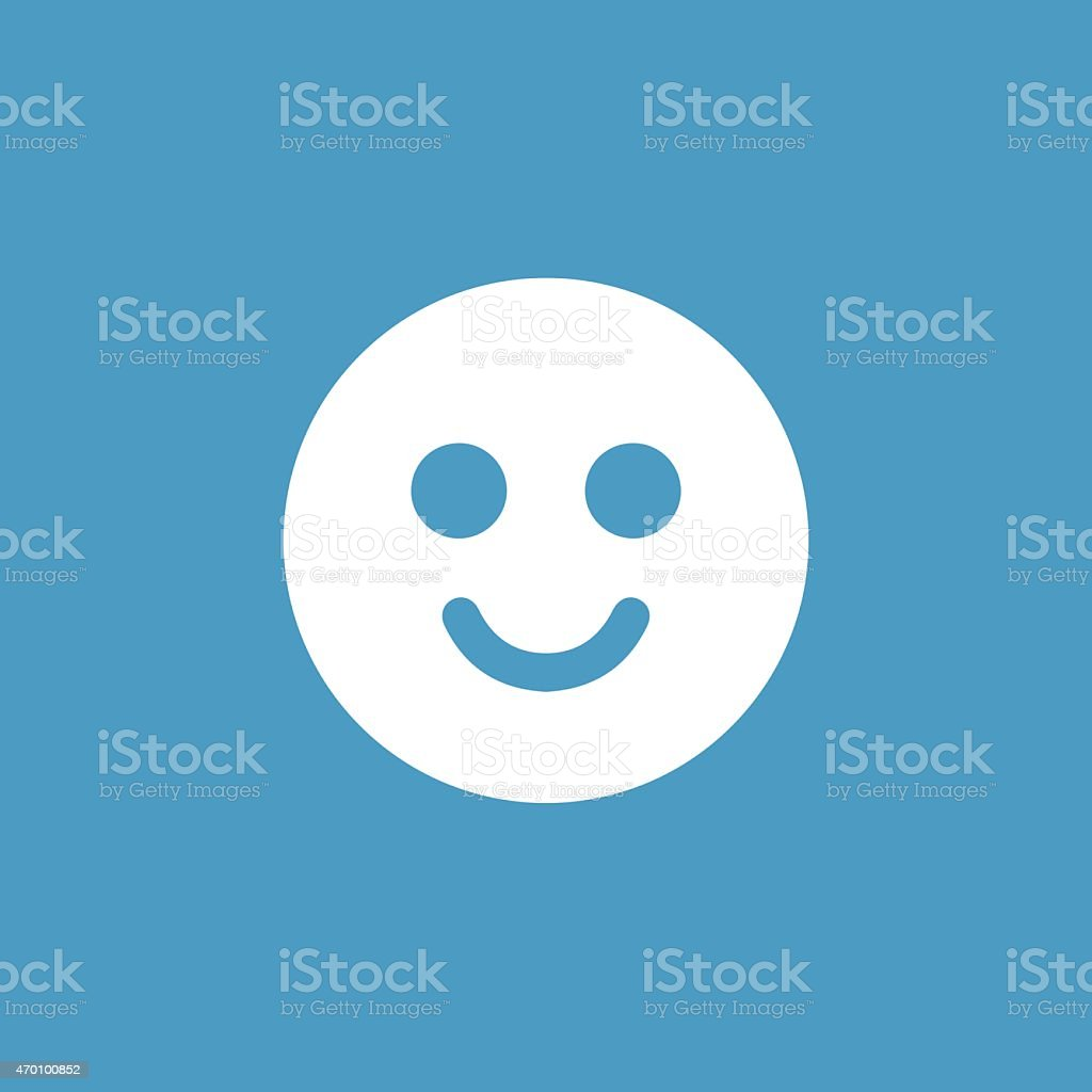 smile icon, white on the blue background vector art illustration