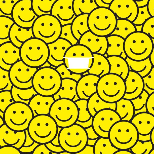 ilustraciones, imágenes clip art, dibujos animados e iconos de stock de patrón de iconos de sonrisa. una persona con máscara médica. - emoji perezoso