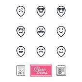 Smile pointers icons. Happy, sad and wink faces signs. Sunglasses, mustache and laughing lol smiley symbols. Report document, calendar icons. Vector