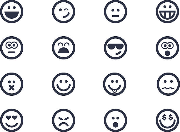 smile icons - happy emoji stock illustrations, clip art, cartoons, & icons