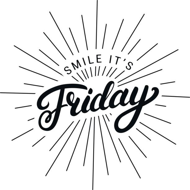 smile its friday hand written lettering. - happy holidays stock illustrations