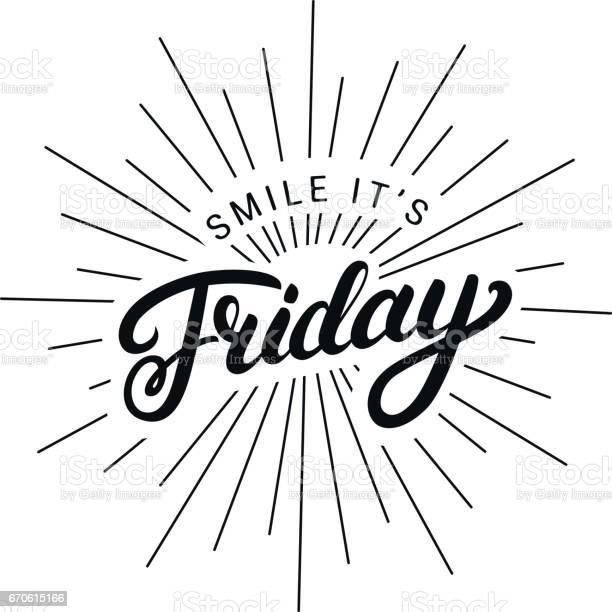 Smile Its Friday Hand Written Lettering - Stockowe grafiki wektorowe i więcej obrazów Biuro