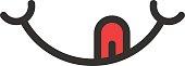 smile logo with tongue like yummy
