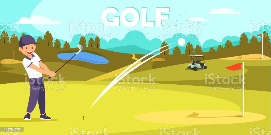 Young Smiling Man Wearing Golf Uniform Hit Ball with Club and Watch...