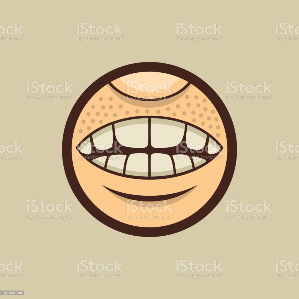 Smile Mouth with Teeth in Circle Vector vector art illustration