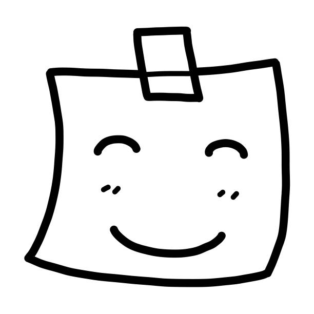 ilustrações de stock, clip art, desenhos animados e ícones de smile note paper - tape face