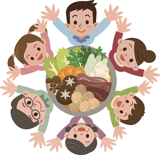 smile of the large family that rejoice in casserole - old man sitting backgrounds stock illustrations, clip art, cartoons, & icons