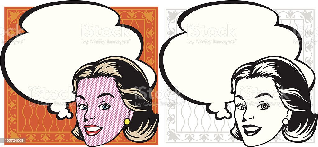 smile of woman in retro vector art illustration