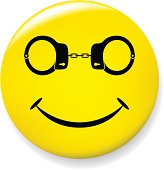 Yellow smile pin: face with handcuff in place of eyes.