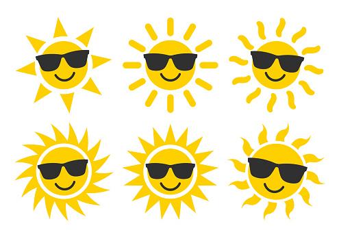 Smile Sun and sunglasses flat style icon weather and sunshine set. Forecast logo symbol collection. Vector illustration image. Isolated on white background.