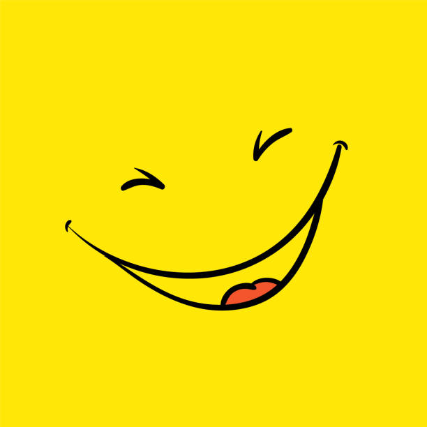 illustrazioni stock, clip art, cartoni animati e icone di tendenza di smile template, yellow positive thinking poster - sorriso
