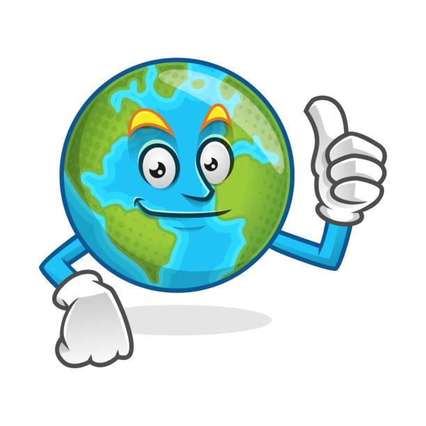 Smile Thumb Up Earth Mascot Character Cartoon Vector Art Illustration