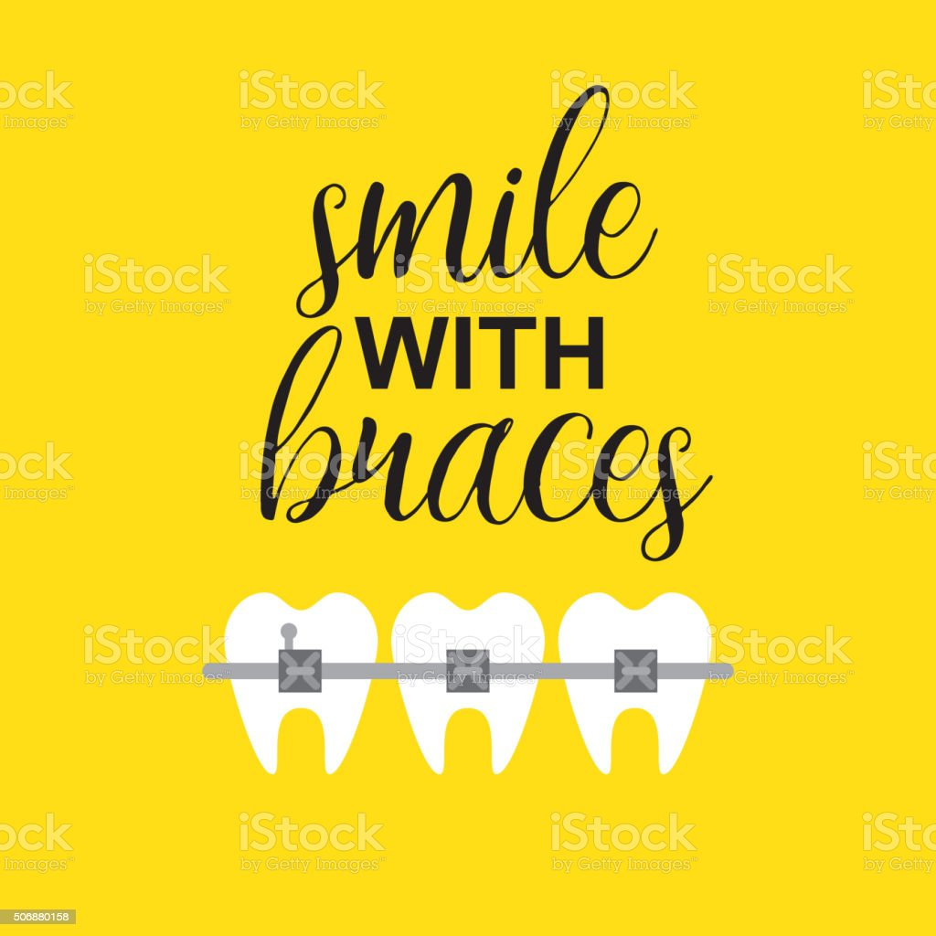 Smile with braces on teeth vector illustration vector art illustration