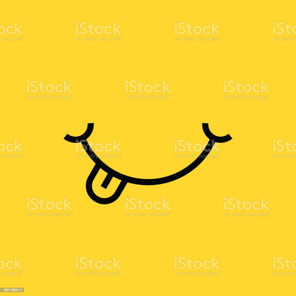 smile with tongue on yellow background vector art illustration