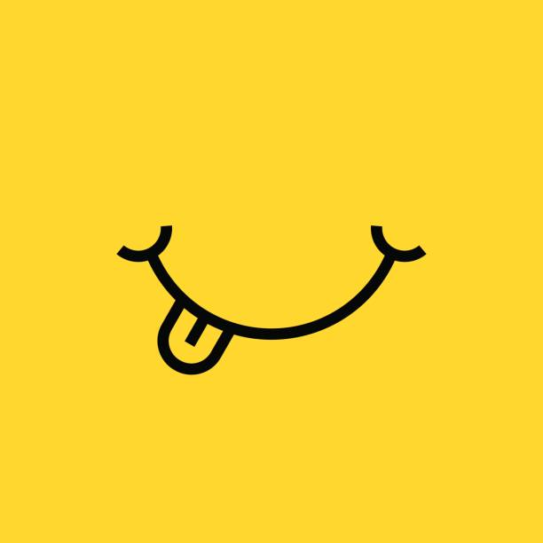 smile with tongue on yellow background - food and drink stock illustrations, clip art, cartoons, & icons