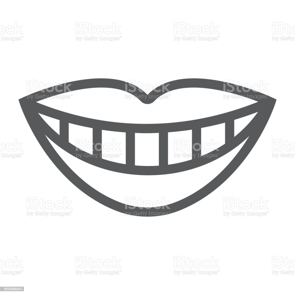 Smile with white tooth line icon, stomatology and dental, lips sign vector graphics, a linear pattern on a white background, eps 10. vector art illustration