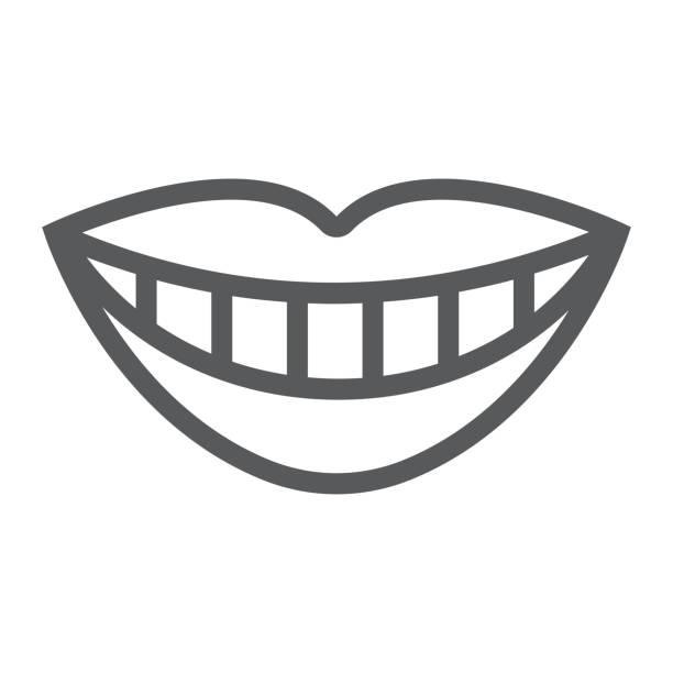 lächeln mit weißen zahn liniensymbol, stomatologie und dental, lippen-zeichen-vektor-grafiken, ein lineares muster auf weißem hintergrund, eps 10. - lächeln stock-grafiken, -clipart, -cartoons und -symbole