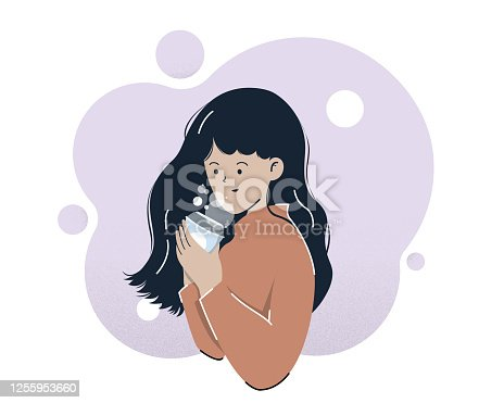 istock Smile Women Drinking Coffee illustration. Vector illustration. White Background. 1255953660