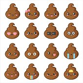 Smiles poop vector illustrations.