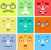Smiles Set Avatar Emotions Happy Surprised Mustache Angry Adult Character
