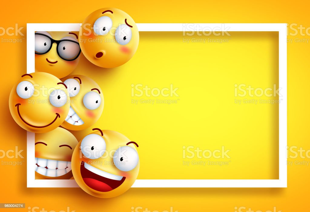 Smiley Background Vector Template With Yellow Funny Smileys Or