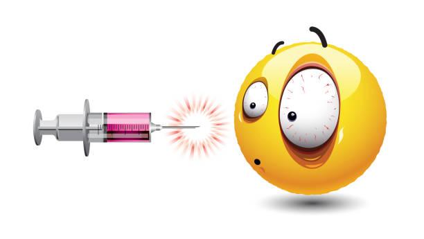 Balle Smiley regardant injection. - Illustration vectorielle