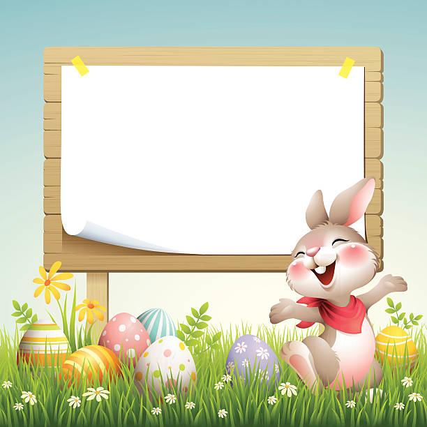 smiley bunny-ostern billboard - hase stock-grafiken, -clipart, -cartoons und -symbole