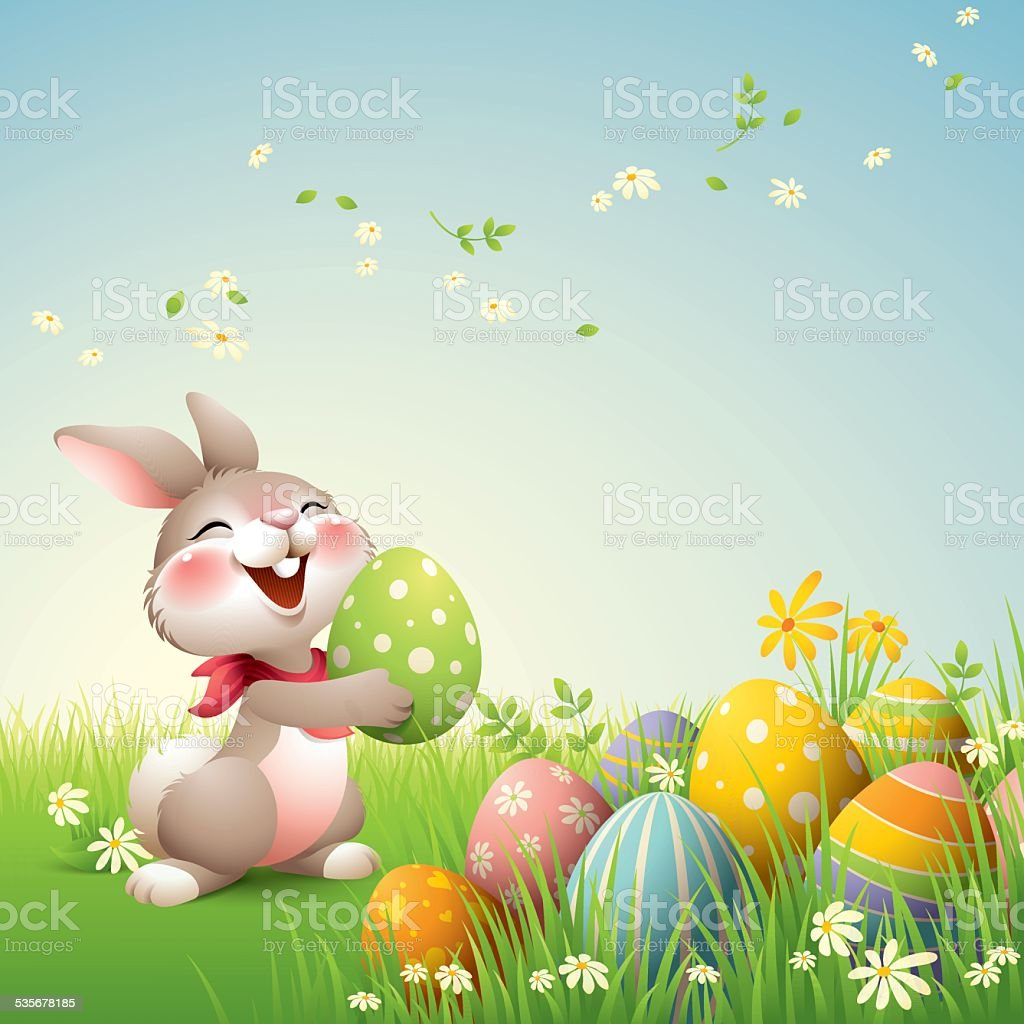 Smiley Bunny - Easter vector art illustration