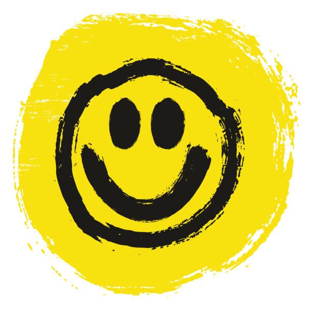 ilustrações, clipart, desenhos animados e ícones de smiley círculo bandeira vector mão pintada com pincel arredondado - smile