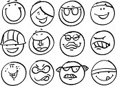 Collection of different funny faces.