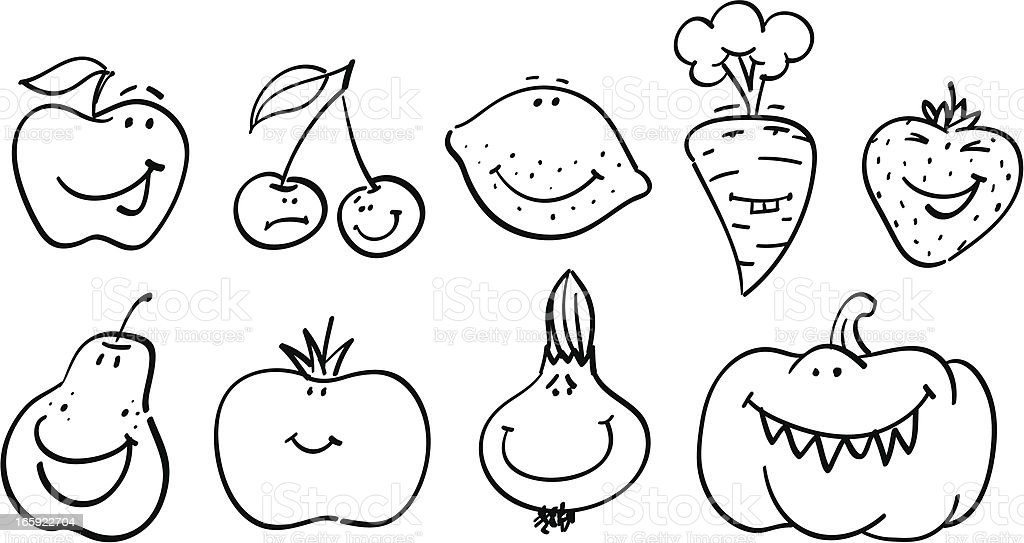 Smiley collection   Fruits and Vegetables royalty-free stock vector art