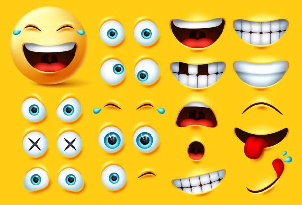ilustrações, clipart, desenhos animados e ícones de conjunto de vetores de kits de criação emoji sorridente. emoticons sorridentes e emojis enfrentam olhos e boca de kit de surpresa, animados, famintos e sentimentos engraçados. - landscape creation kit