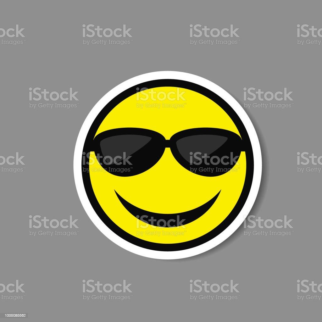 De Gafas Sonriente En Etiqueta Vector Sol Emoticon Ilustración UGpMqSzV