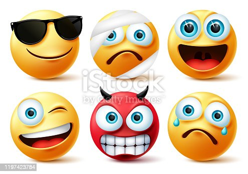 Smiley emoticon or emoji face vector set. Smileys yellow face icon and emoticons in devil, injured, surprise, angry and funny facial expressions isolated in white background. Vector illustration.