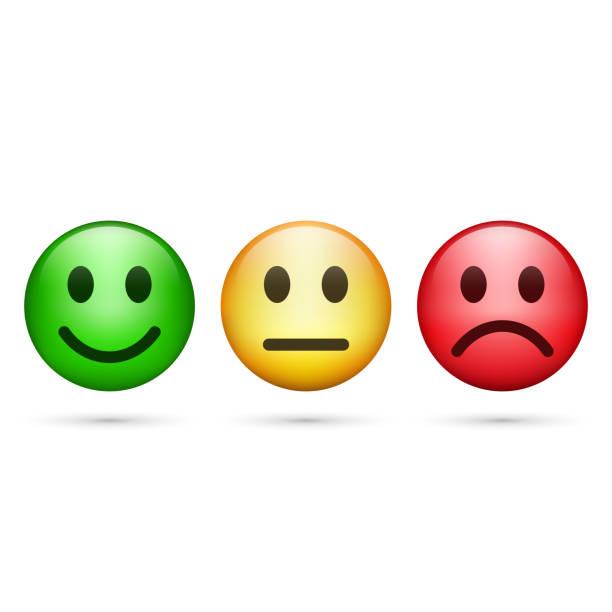 illustrazioni stock, clip art, cartoni animati e icone di tendenza di smiley emoticons icon positive, neutral and negative, vector. - beige