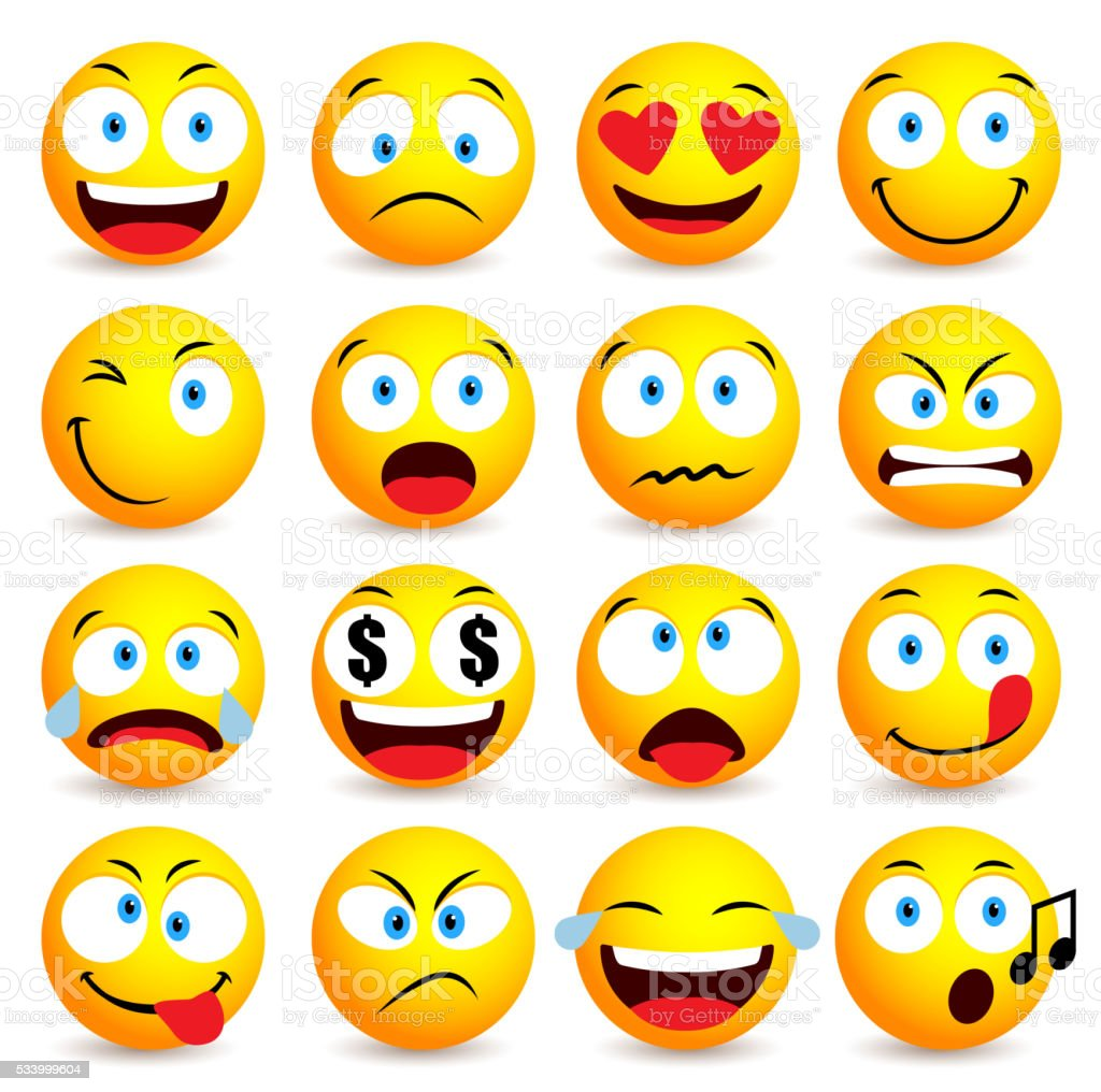 Smiley face and emoticon simple set with facial expressions vector art illustration