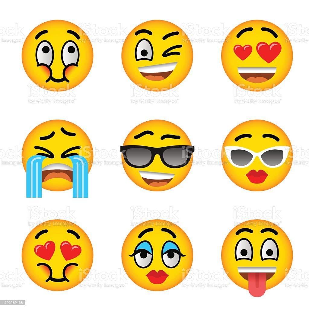 Smiley-Symbol flache Vektor-icons set mit emoji – Vektorgrafik