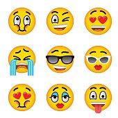 Smiley face emoji flat vector icons set