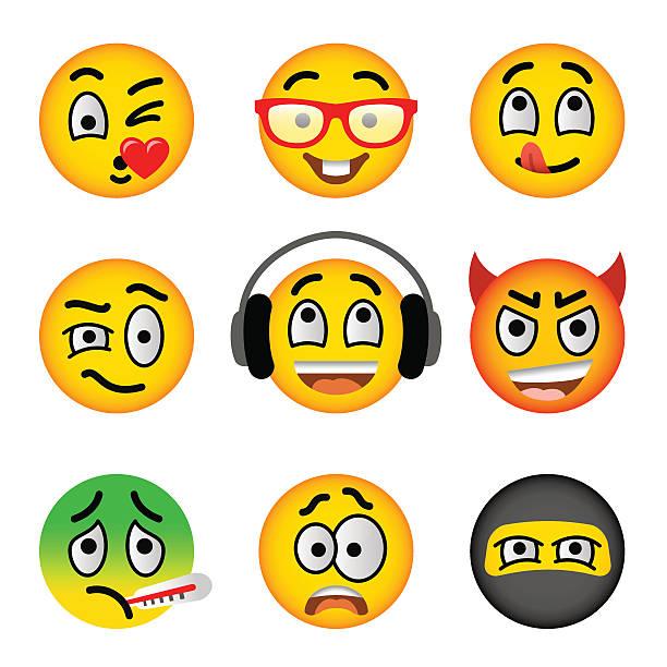 スマイリー絵文字顔のベクトルフラットアイコンセット - 興奮の絵文字点のイラスト素材/クリップアート素材/マンガ素材/アイコン素材